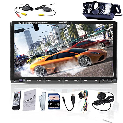 Capo Unitš€ Eincar 7 pollici touchscreen Logo Car DVD Video Player Bluetooth con il video microfono di navigazione GPS di iPhone del iPod Connection Matrimoniale 2 DIN In doppio del precipitare 2Din automatico di Windows Radio CE Stereo 8 Car Video AM ricevitore radio FM Audio unitš€ principale Free Multi-Media Ufficiale di navigazione GPS SD Mappa Scheda accessorio Backup Free della macchina fotografica Audio Video VCD