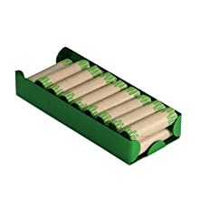MMF Industries Rolled Coin Aluminum Tray with Denomination and Quantity Etched on Side, Green (211011002)