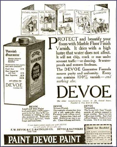 1916 Advertisement for Devoe Paint Co Marble Floor Finishes Original Paper Ephemera Authentic Vintage Print Magazine Ad / Article (Devoe Paint compare prices)
