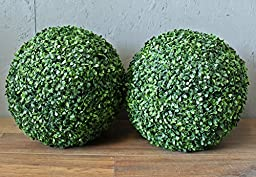Geranium Street Floral 16 inch UV Protected Artificial Boxwood Ball, 2-Pack
