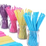 Colored Lollipop Sticks 100 Count 6 inch (Blue, White, Purple, Yellow, Rose-red) (100) (Color: Blue, White, Purple, Yellow, Rose-red, Tamaño: 6'' x 100 count)