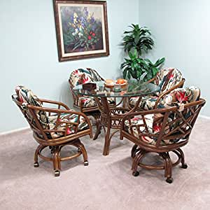 Made In USA Rattan Chiba Dining Caster Chair Table Gaming Furnit