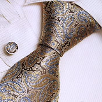 Brown Pattern Silk Ties For Men Goldenrod Paisleys Mens Gifts Formalwear Silk Necktie Cuff Set A2018