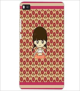 PrintDhaba Cartoon Girl D-2661 Back Case Cover for HUAWEI P8 (Multi-Coloured)