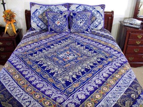 Purple Handmade Indian Bedding Bedspread Duvet Pillows