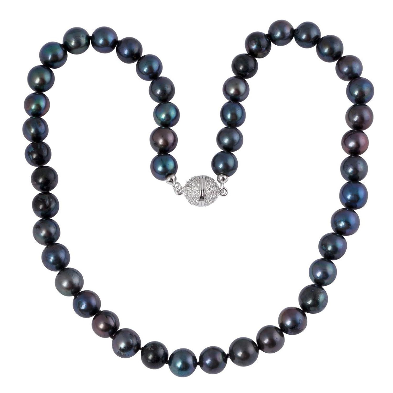 Bella Donna Damen-Collier Perlen 925 Sterlingsilber Zirkonia weiß Süßwaser-Zuchtperlen schwarz 8,5-9,5 mm 45 cm 104061