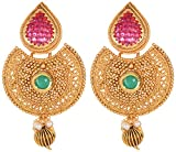 Violet and Purple Alloy Gold Plated Jhumki Earrings for Women (1000030031)