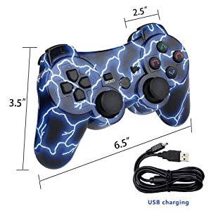 Bowei PS3 Controller Wireless Double Shock Controller for Playstation 3 with Charge Cord   (Color: Blue Light)