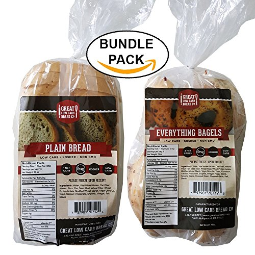 Great Low Carb Bread/Bagel Value Combo - Plain Sandwich Bread and Everything Bagels (Best Seller Bundle Pack) (Thin Slim Bread compare prices)