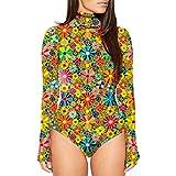 Women's Turtleneck Floral Printed Long SLeeve Bodycon Thong Bodysuits Leotard M