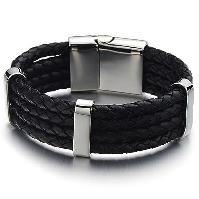 35195b3467b   Conception Unique - Bracelet en Cuir Tressé Tri-brin Homme - Cuir Noir  Véritable Envelopper Bracelet - Acier Inoxydable Fermoir  Bijoux -  mechantfr3222