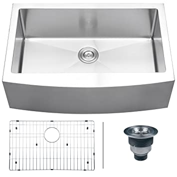 "Ruvati RVH9200 Apron Front 16 Gauge 33"" Kitchen Single Bowl Sink, Stainless Steel"