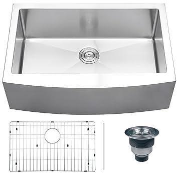 "Ruvati RVH9200 Apron Front 16 Gauge 33"" Kitchen Single Bowl Sink, Stainless Steel"