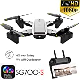 Iusun RC Drone, SG700-S 2.4Ghz 4CH Wide-angle WiFi 1080P Optical Flow Dual Camera RC Quadcopter Drone Hover (White) (Color: White, Tamaño: A)