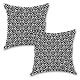 "Black And White 16''x16"" Inches Set Of Two Cushion Cover By BS"