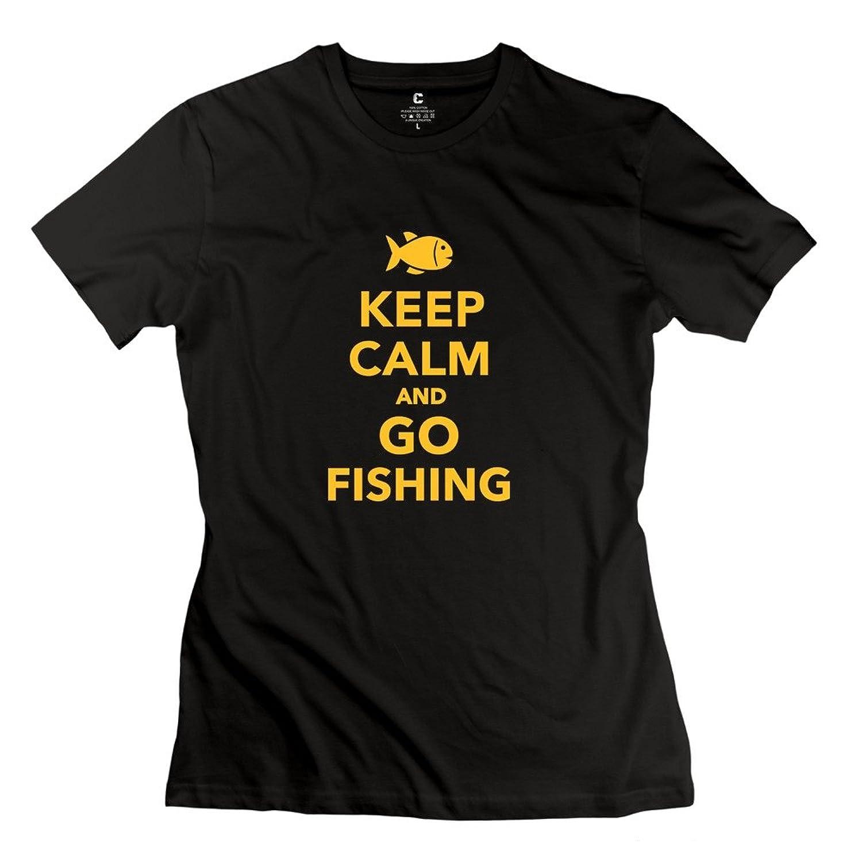 YMGG Womens Tshirt Keep Calm And Go Fishing Black