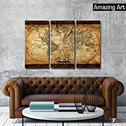 Amazing Art- The Retro Global World Map Oil Printing On Canvas - Canvas Wall Art - Landscape Oil Painting On Canvas- Home Decor or Gifts (frame, 12 x 24 x 3 pcs)