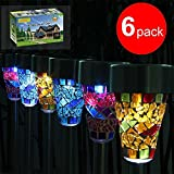 GRDE 6 Pack Originality LED Garden Solar Lights, Nice Lovely Solar Lights, Classy Outside Decoration Lighting, Solar Mosaic Border Garden Lights Garden Decoration Ornaments, For Christmas Wedding Party Festival, Waterproof, Heat Resistant (Pink, Blue, Orange)