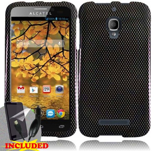 Alcatel One Touch Fierce (T-Mobile) 2 Piece Snap On Glossy Image Case Cover, Black/Grey Carbon Fiber Design + SCREEN PROTECTOR & CAR CHARGER