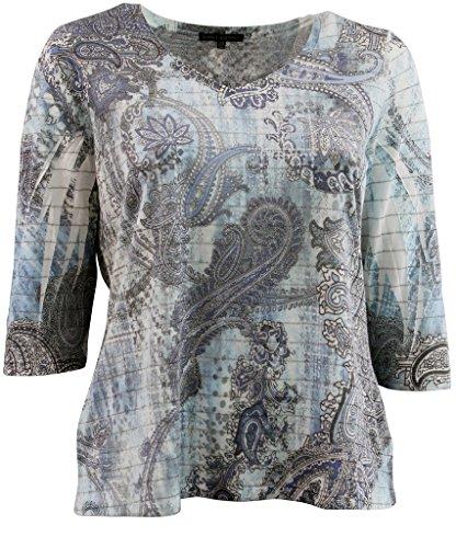 Women's Plus-Size 3/4 Sleeve Knit Top Metallic Silver Lining Tee Shirt Multi Blue 2X G160.01L