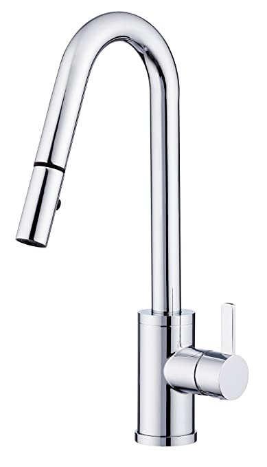 Danze D457130 Amalfi Trim Line Pull-Down Kitchen Faucet, Chrome, Chrome