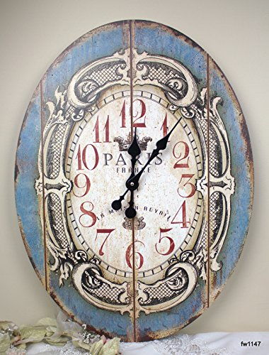 23 Large Blue Oval Paris Wall Clock ~ Shabby Wooden