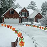 Christmas Presents Pathway Markers - Set of 18 Flat Corrugated Plastic Decorations