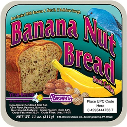 F.M. Brown's Garden Chic Suet and Bread Cakes, 11-1/2-Ounce, Banana Nut Bread Bread Basket Cakes