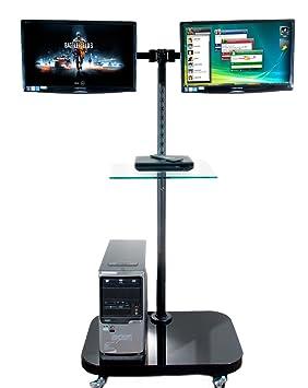 FS948MDM2 plancher mobile reposer pendant 2 Moniteurs LCD / TV avec plateau en verre