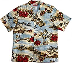 RJC Brand Tropical Escape Men's Hawaiian Shirt Blue 4X