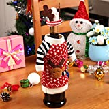 Whitelotous Wine Bottle Cover - Christmas Theme Knit Sweater with Hat Wine Bottle Dress Table Decor, Holiday Wine Bottle Wrap Cover Topper (Sweater with Antler Hat)
