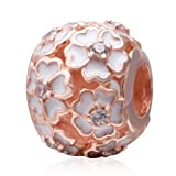 Cherry Blossoms Rose Gold Charm 925 Sterling Silver Fit European Beads Charms (Color: silver)
