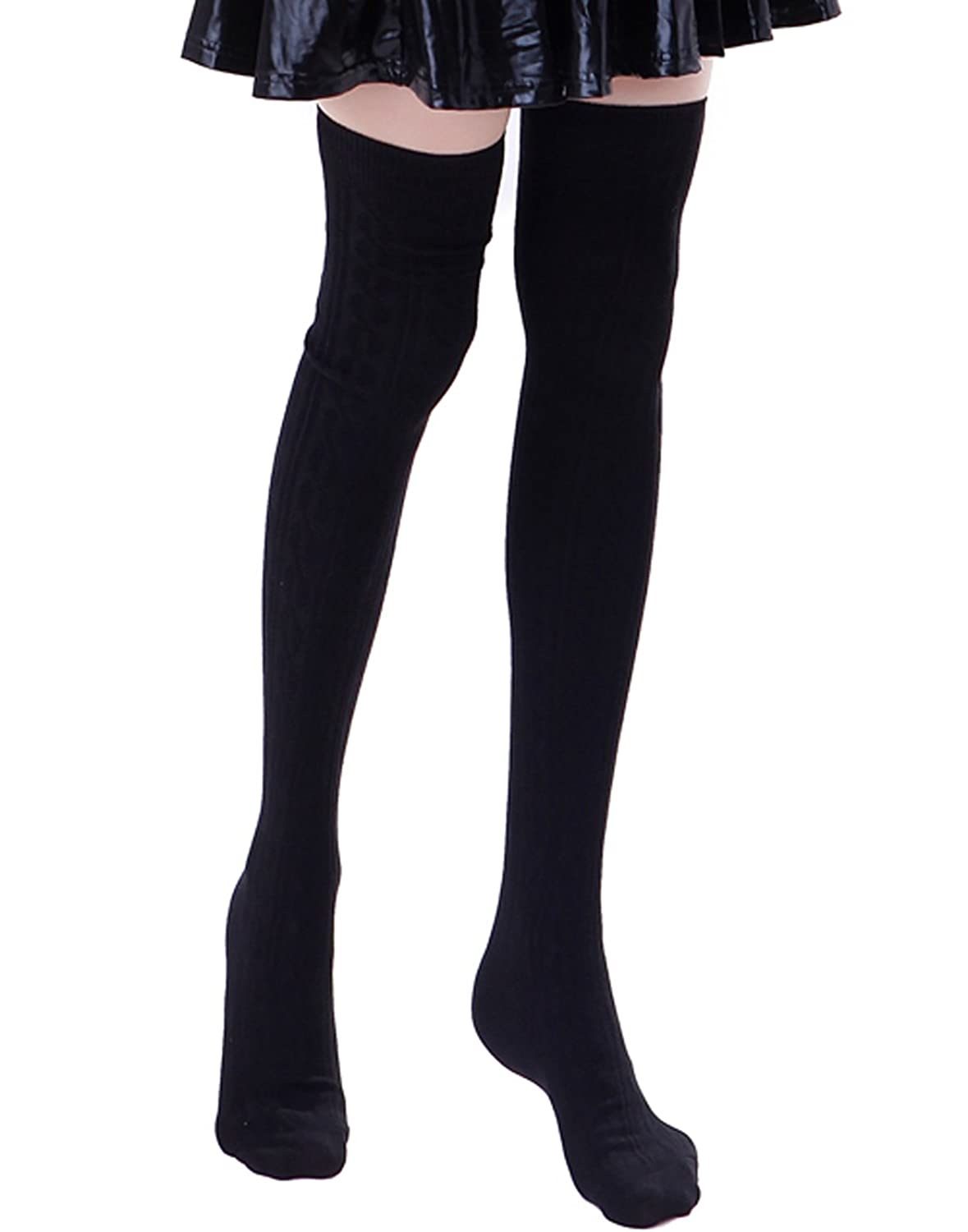 HDE Womens Opaque Solid Color Cable Knit Over the Knee Thigh High Stocking Socks 2018 winter thigh high boots women faux suede leather high heels over the knee botas mujer plus size shoes woman 34 43