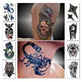 Temporary Tattoos for Guys, Boys, Men - 8 Sheets Tough Macho Fashion Designs for Arms Shoulders Chest & Back - Premium Waterproof & Long Lasting Transfers - Fake Body Art Stickers (Saturn Collection)