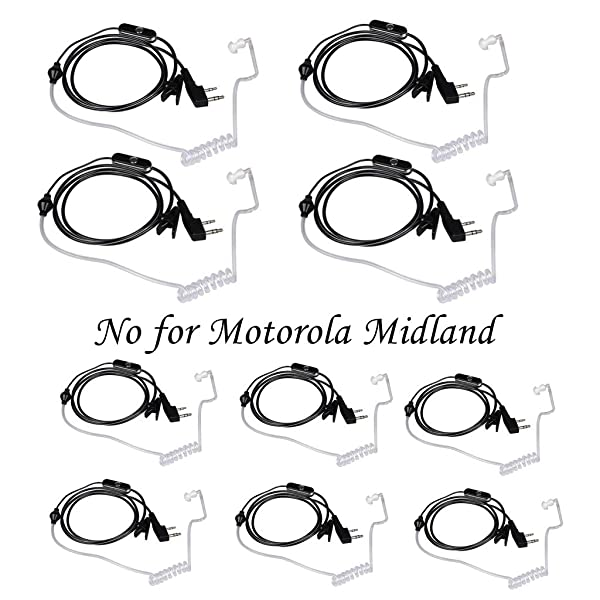 Walkie Talkies Earpieces (10 Packs) for Baofeng UV-5R BF-888S Retevis H-777 Kenwood PUXING with 2 Pins Acoustic Tube Headset with Mic (Color: 10 Packs)