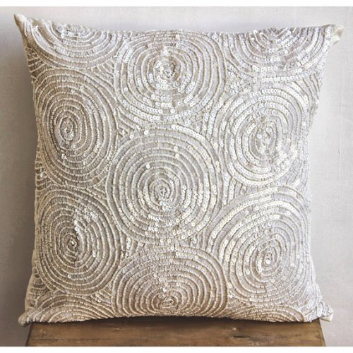 Ivory Swirls - 12X12 Inches Square Decorative Throw Ivory Silk Pillow Covers Embellished With Sequins & Beads front-487475