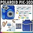 Polaroid Appareil photo analogue � film instantan� PIC-300 (noir) avec (5) paquets de 10 films instantan�s Polaroid 300 + trousse Polaroid en n�opr�ne + kit de nettoyage Polaroid + courroie de cou et de poignet + (4) piles AA