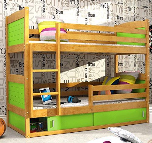 Hochbett RICO 2 Farbe Erle 185×80 aus Kieferholz + Lattenrost + Matratzen gratis günstig online kaufen