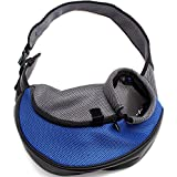 Petown Portable Soft Pet Carrier Shoulder Bag for Dogs and Cats (Blue Medium Size)