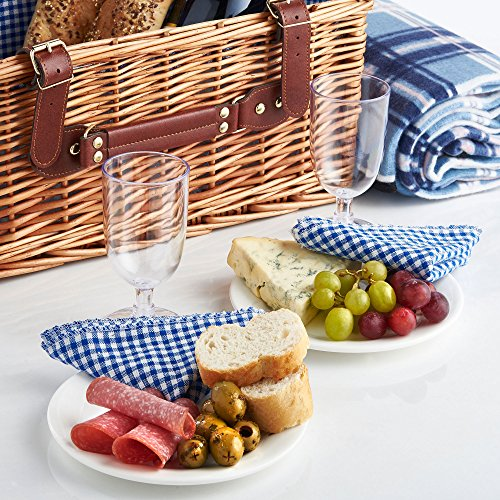 VonShef Deluxe 2 Person Traditional Wicker Picnic Basket Hamper with Cutlery, Plates, Glasses, Tableware & Fleece Blanket 3