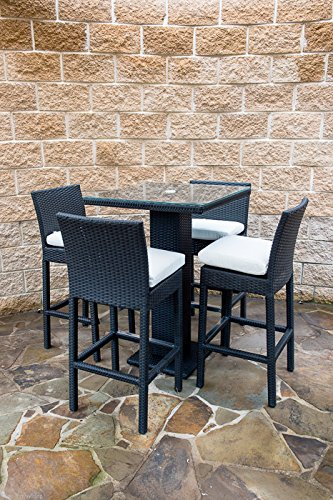 Outdoor Patio Wicker Furniture New Resin 5 Piece Dining Bar Table Barst