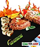 "iPerfect Kitchen ® Envy BBQ Grill Mat - Set of 2 Mats - 60% EXTRA Thick Material Than As Seen on TV, Yoshi And Others - Perfect for Outdoor and Indoor Cooking & Baking with Grill Marks on Grates - 100% Nonstick - Great Addition to Your BBQ Tools & Accessories - A Miracle Barbecue Solution for Gas, Charcoal, Electric Grill, or Oven - Best for Grilling Ribs, Shrimps, Steaks, Burgers and Vegetables, Even Grill Pizza, Pancakes, Etc. - Reusable, Easy Clean, Dishwasher Safe - Free of Silicone and Harmful Chemicals - Included Recipes and Grilling Ebooks - ""No Hassle"" LIFETIME GUARANTEE"