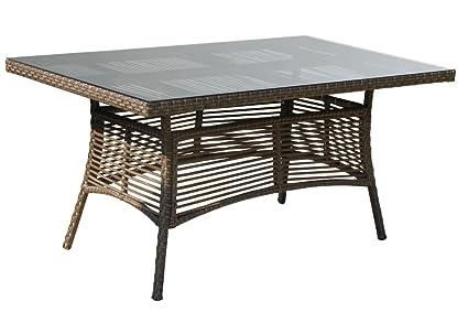 Rattan Tisch Vintage 153x97cm mit Glasplatte