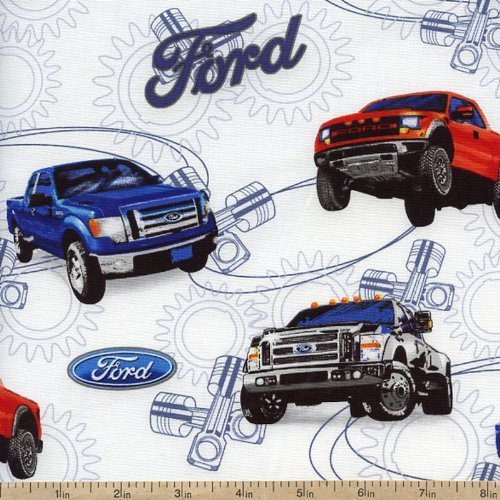 ford-motor-company-fords-truck-trucks-on-white-cotton-fabric-print-by-the-yard-1101-01