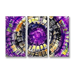 Neron Art - Handpainted Abstract Oil Painting on Gallery Wrapped Canvas Group of 3 pieces - The Gate 48X32 inch (122X81 cm)
