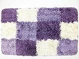 Shop XJ マット ラグ 台所 玄関 お風呂 に ブロック チェック (紫)
