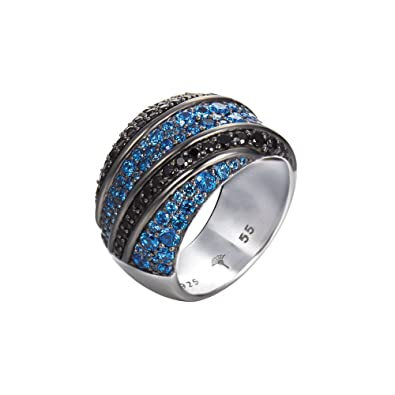 Joop JPRG90608A Ladies 925 Sterling Silver Zirconia Ring Blue Statement 18.8 mm Size 59