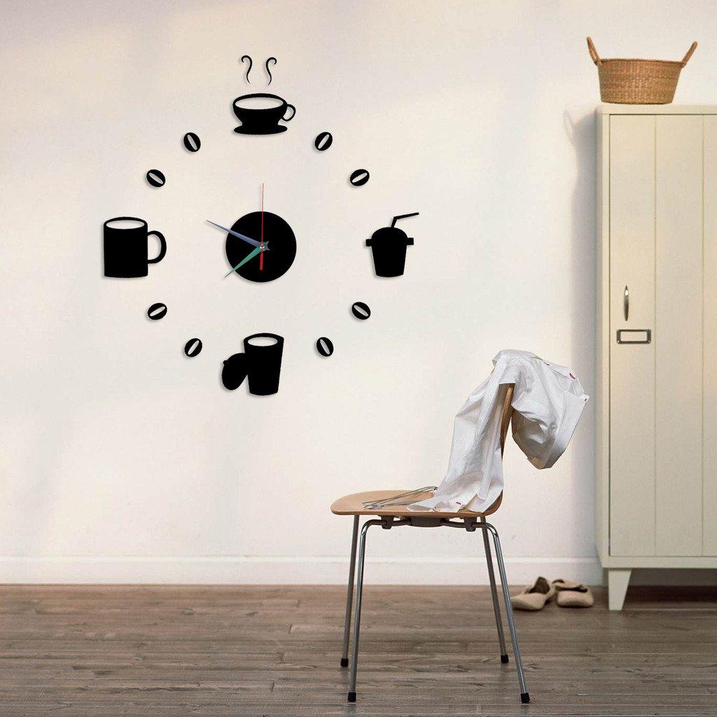 Tofern DIY 3D Wanddekoration Wanduhr Aufkleber Moderne Abnehmbarer Spiegel-Art-Kunst-Abziehbild-Wandhaupt Wohnzimmer Schlafzimmer Dekoration Kaffeetasse Aufkleber Wall Clock Schwarz online kaufen