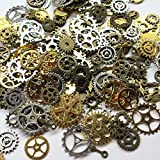 Chenkou Craft Random 100 Gram (Approx 70pcs) Assorted Antique Steampunk Gears Charms Pendant Clock Watch Wheel Gear for Crafting, Jewelry Making Accessory (Multi-color) (Color: Multi-color, Tamaño: mix)