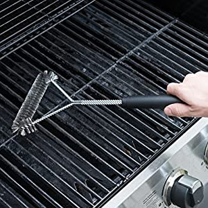 "Quiseen Stainless Steel Heavy Duty 18"" BBQ Grill Brush - Long Safe Handle"